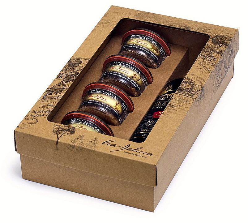 dárková kazeta dřevěná 4 ks paštik a víno