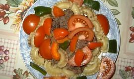 Těstoviny s kuřecími jatýrky a masíčkem
