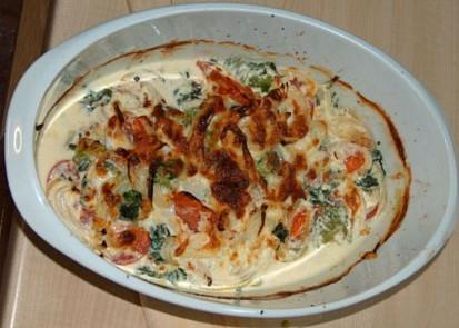 Zapečená treska s rajčaty a špenátem