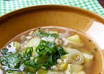 Pórková polévka  s bramborem a kroupami