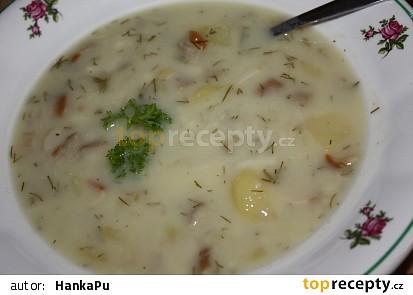 Bramborová polévka s houbami nakyselo