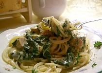 Špagety s gorgonzolovou omáčkou a špenátem