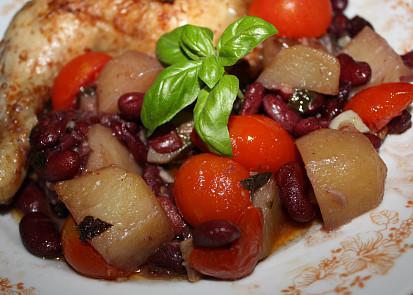 Kuřecí stehýnka s rajčátky z trouby