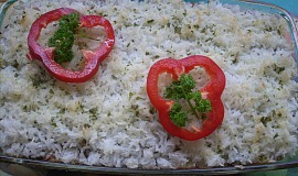 Pórek zapečený s rýží a uzeným masem