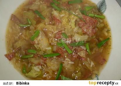 Kapustovo-brokolicová polévka s rýží a uzeninou