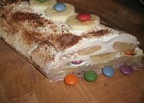 Banánovo-lentilkový nepečený dort