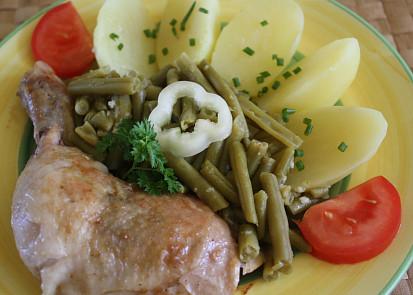 Kuře na kari s fazolkami