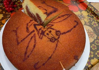 Mramorový dort ozdobený čokoládovým obrázkem