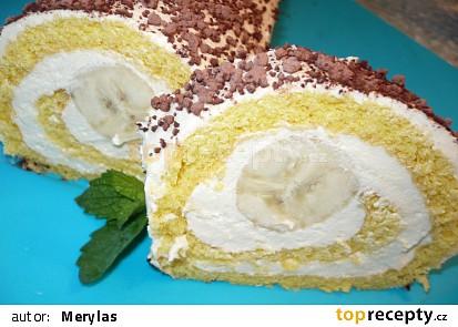 S polohrubou moukou, krém z 5 dl mléka,+2 kokosové pudinky+ cukr a svařit, po vychladnutí zašlehat 1Ramu v kostce, uprostřed rolády 2 banány, nahoře granko.