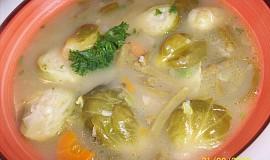 Polévka z růžičkové kapusty a zelených fazolek