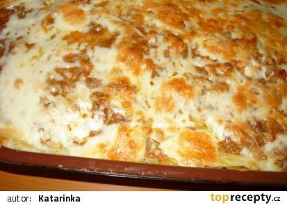 Bramborové pyré zapečené s masem a sýrem