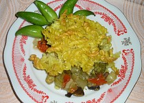 Těstoviny zapečené se zeleninou