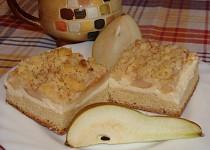 Hruškový koláč s tvarohovou náplní a špaldovou žmolenkou