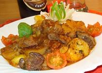 Vepřová játra zapečená s bramborem