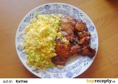Pečená kuřecí stehna na víně se smaženou rýží