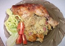 Kuře na bramborákovo-rohlíkové nádivce