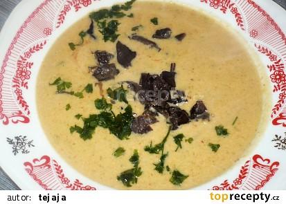 Polévka z červené čočky s křemenáči