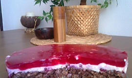 Vločkovo-brusinkový dort