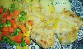 Žloutkové vepřové plecko na pórku s dušenou zeleninkou-odlehčené přírodní menu