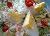 Kadeřavý  salát  s mozzarellou, jogurty, mrkví a vejci