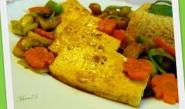Tofu plátky se žampiony a zázvorem