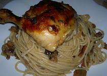 Kuřecí stehna  se špagetami Stenly