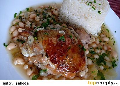 Tymiánové kuře na víně a bílých fazolkách