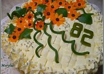 Kytičkový dort s vanilkovým pudinkovým krémem