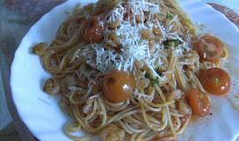 Vinná omáčka  s krevetami na špagety