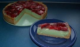 Jahodový koláč s pudinkovo-tvarohovou náplní