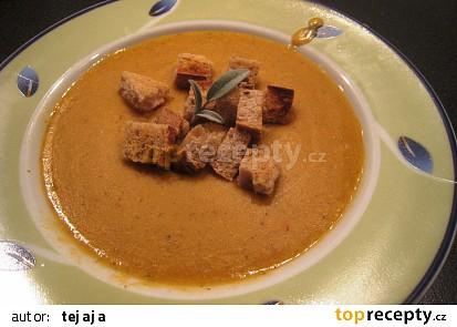 Krémová polévka z červené čočky s krutonky