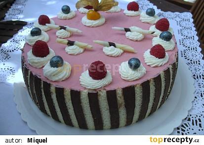 Pěnový dort z malin a bílé čokolády (malinová pěna & pěna z bílé čokolády)
