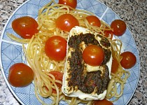 Přírodní šmakoun zapečený se špagetami v MW