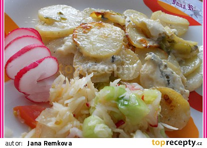 Zapečené brambory s Nivou a pórkem