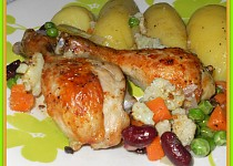 Kuře pečené na zelenině-nejen pro diabetiky