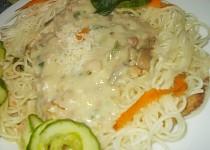 Špagety s chutnou omáčkou z uzených stehen a hub