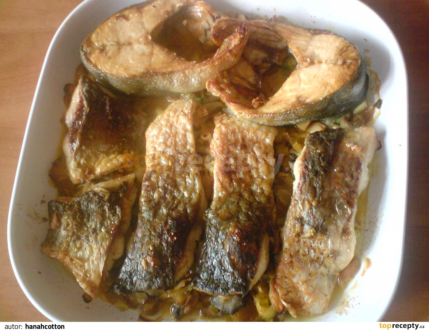 Zapečená ryba a žampiónová příloha recept - TopRecepty.cz 1abf61ef2e