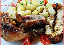 Zázvorové kuře pečené se zázvorovo -  bylinkovou nádivkou