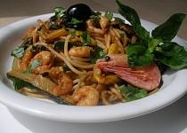 Cukety, krevety, pesto a špagety