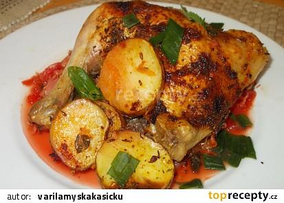Kuře pečené  na mrkvovo-řepném a zelném polštáři
