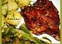 Zlatý krkovičkový steak s fazolkama