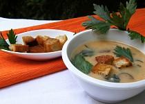 Houbová polévka s celerovou natí a chlebovými krutonky