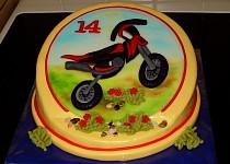 Křivý dort s motorkou
