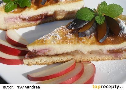 Krupicový švestkovo- jablečný koláč