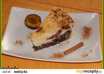 Makovo-tvarohovo-švestkový koláč
