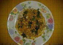 Omeleta s kukuřicí a cibulkou