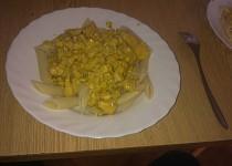Těstoviny s masem, žampiony a kukuřicí
