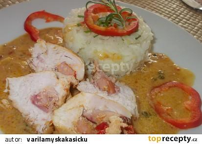 """Plněná kuřecí prsa na bulharské  zeleninové směsi  """" Ljutenica """""""