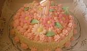Růžovobílý tvarohovobanánový dort pro Emu