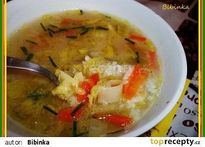 Rychlá zapražená rýžová polévka s kapustičkami-třeba když zbyde rýže